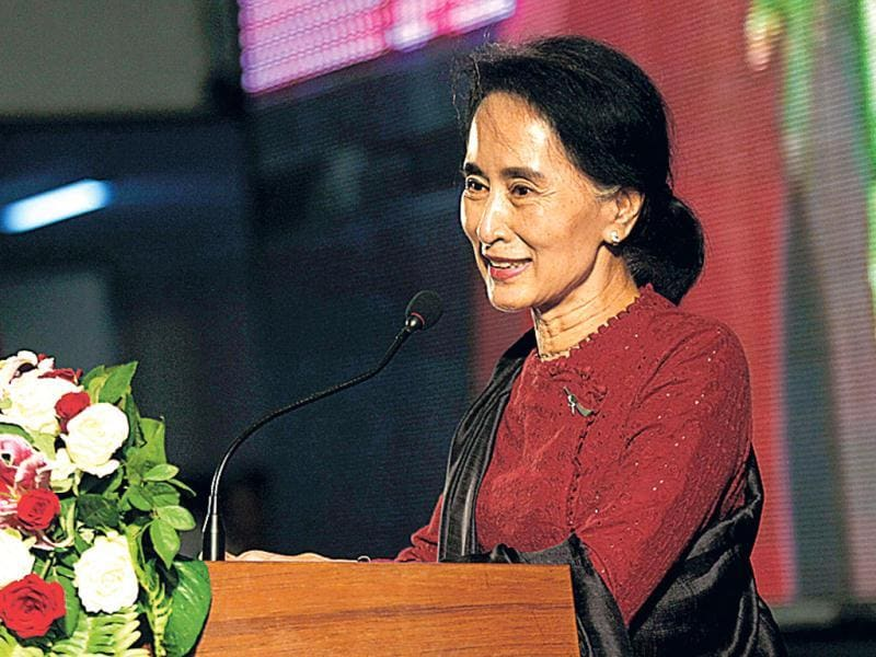 Myanmar opposition leader Aung San Suu Kyi speaks during an event marking the 25th anniversary of Myanmar's pro-democracy uprising at the Myanmar Convention Centre (MCC) in Yangon. (AP Photo)