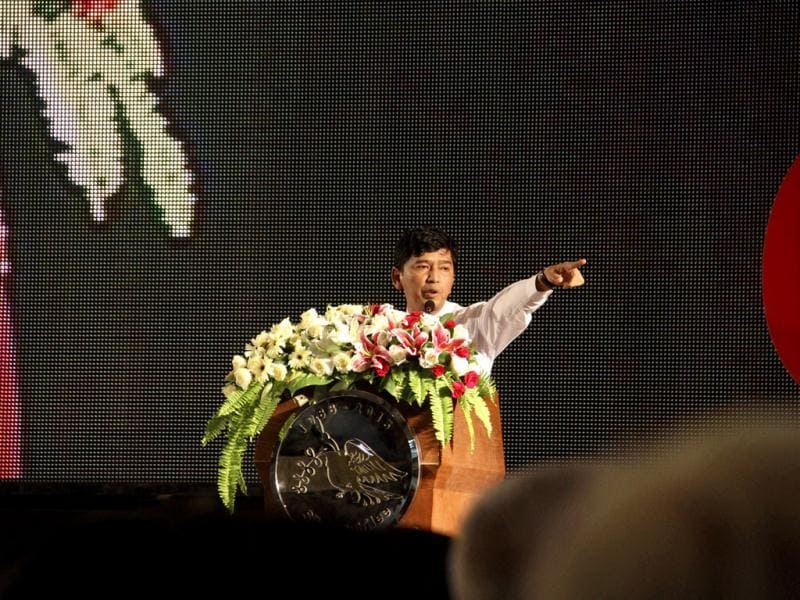 Min Ko Naing, a leader of Myanmar's prominent 88 generation students group, speaks during an event marking the 25th anniversary of Myanmar's pro-democracy uprising. (AP Photo)