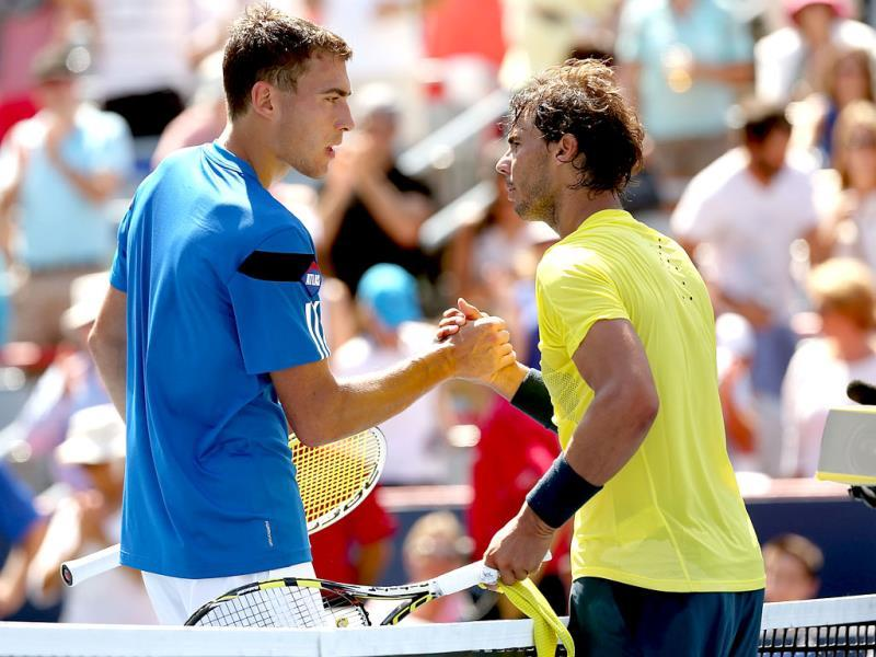 Jerzy Janowicz congratulates Rafael Nadal after their match during the Rogers Cup at Uniprix Stadium in Montreal, Quebec, Canada. AFP photo