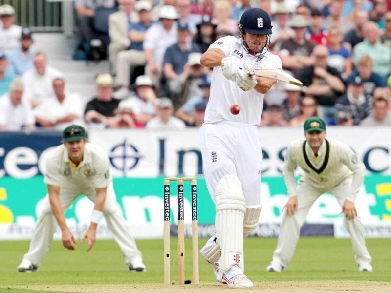 England captain Alistair Cook (C) bats on the first day of the fourth Ashes Test at the Riverside stadium in Chester-le-Street, north-east England. (AFP Photo)