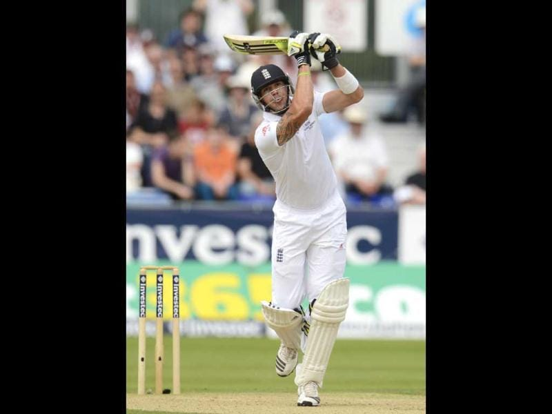 England's Kevin Pietersen hits a four during the fourth Ashes Test at the Riverside ground in Chester-le-Street. (Reuters Photo)