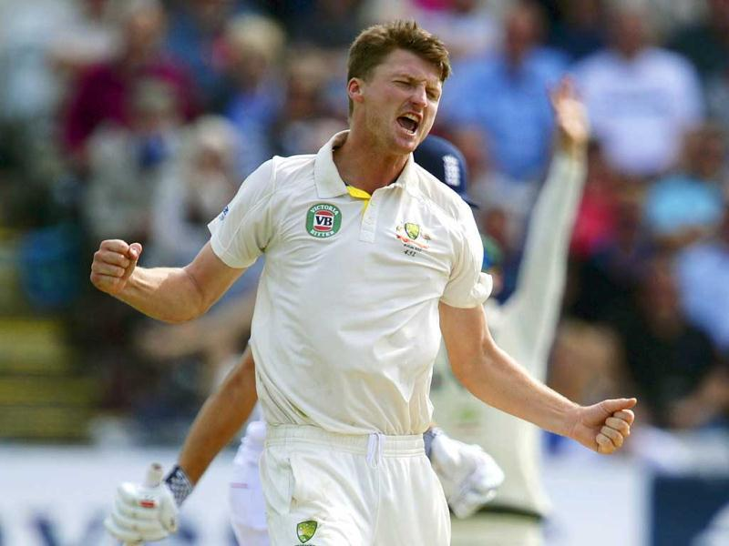 Australia's Jackson Bird celebrates the wicket of England's Alastair Cook during the fourth Ashes Test at the Riverside cricket ground, Chester-Le-Street. (Reuters Photo)