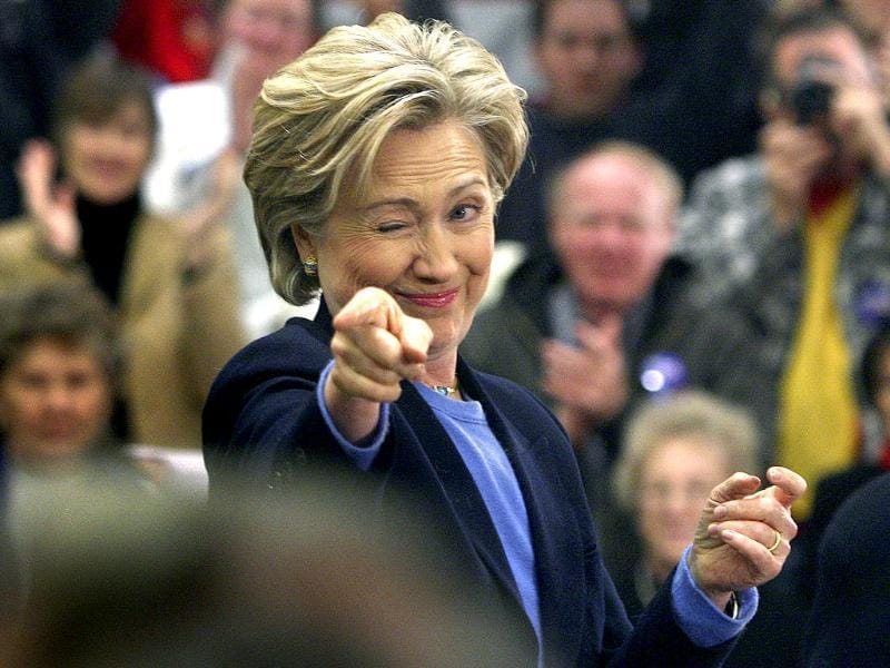 US senator Hillary Rodham Clinton gestures toward a group of supporters during a presidential campaign event in Iowa, USA. (Agencies Photo)