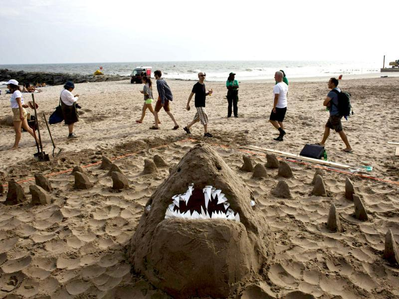 A shark made by Members of Marc at the second annual Artist Sandcastle Competition in Rockaway, New York. (Reuters Photo)