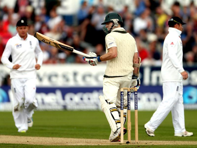Australia's Chris Rogers celebrates his 50 during the second day of the fourth Ashes Test at the Riverside cricket ground, Chester-le-Street, England. (AP Photo)