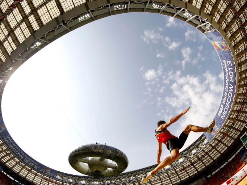 Belgium's Thomas van der Plaetsen competes during the men's decathlon long jump event at the 2013 IAAF World Championships at the Luzhniki stadium in Moscow. (AFP Photo)