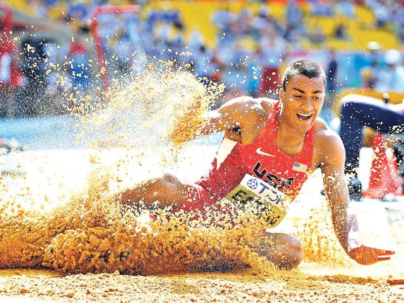 United States' Ashton Eaton competes in the men's long jump of the decathlon at the World Athletics Championships in the Luzhniki stadium in Moscow. (AP Photo)