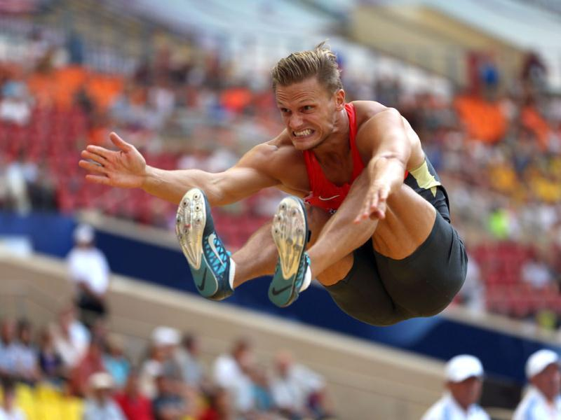 Germany's Pascal Behrenbruch competes during the men's decathlon long jump event at the 2013 IAAF World Championships at the Luzhniki stadium in Moscow. (AFP Photo)