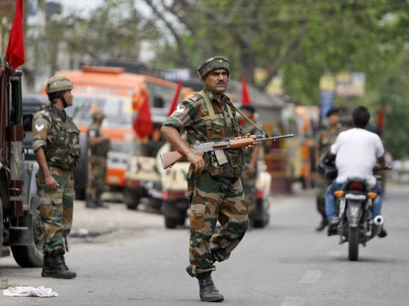 A file photo of army soldiers patrolling in Jammu. (AP)