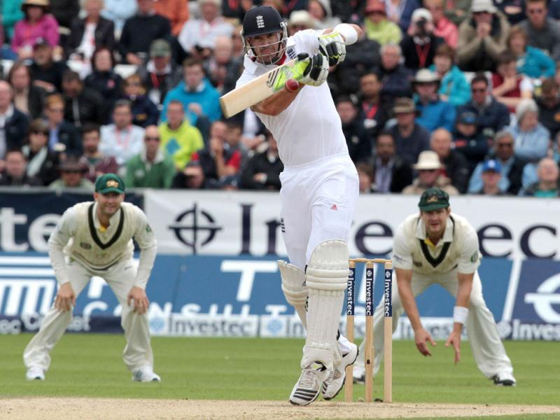 England's Kevin Pietersen plays a shot during the third day of the fourth Ashes Test at the Durham cricket ground in Chester-le-Street, England. (AFP Photo)
