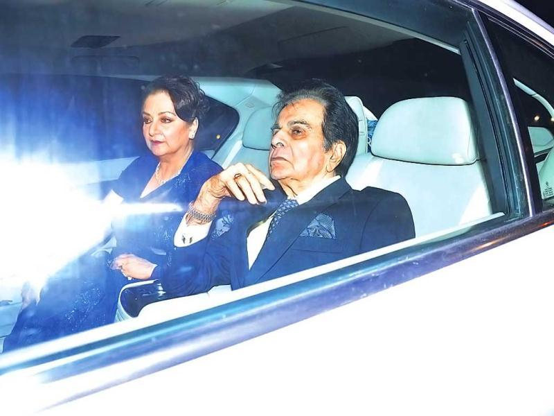 Veteran actor Dilip Kumar along with wife Saira Bano. (Photo: Viral Bhayani)