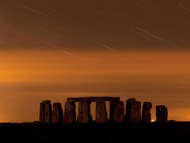 A general view of Stonehenge during the annual Perseid meteor shower in the night sky in Salisbury Plain, southern England. (Reuters Photo)