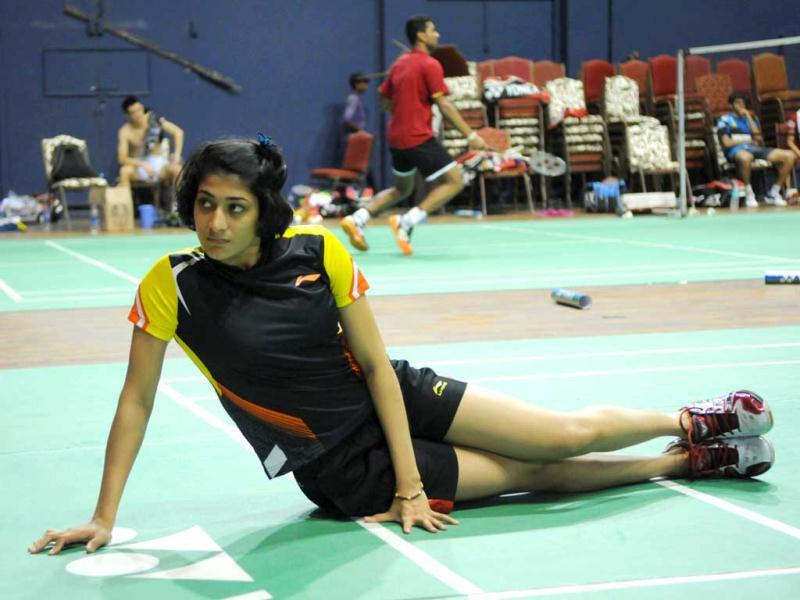 Ashwini ponnappa during practice session before a day of indian badminton league here at Babu banarasi das badminton academy in Lucknow, India on Friday. Agencies
