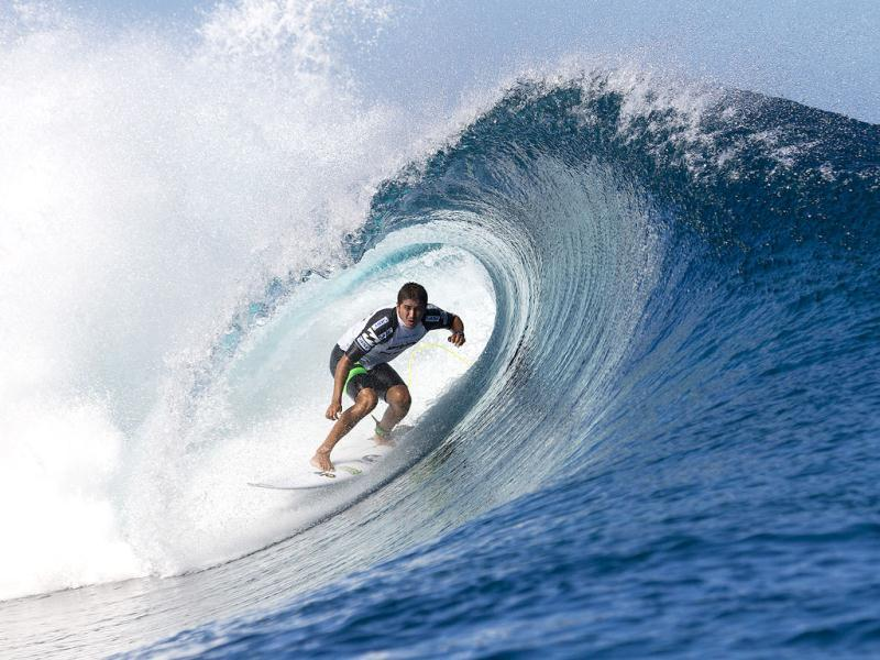 Miguel Pupo of Brasil finished equal 13th at the Billabong Pro in Tahiti reaching round three where he was eliminated by John John Florence. (AP Photo)