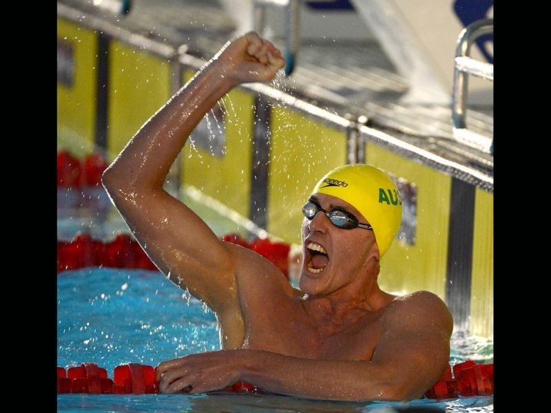 Brenden Hall of Australia celebrates after winning the Men's 400M Freestyle S9 Final during day five of the IPC Swimming World Championship at Parc Jean Drapeau in Montreal, Canada. (AFP Photo)