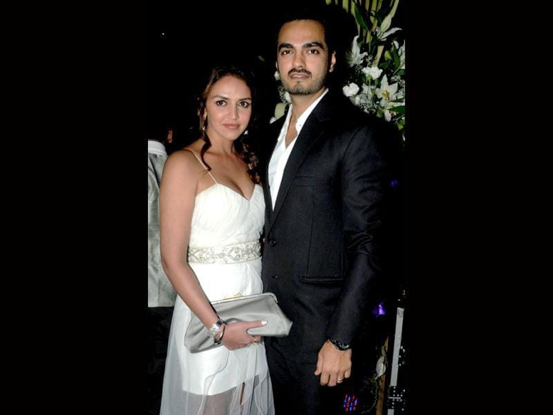 Esha Deol and her husband Bharat Takhtani attend the 50th birthday bash of Sridevi in Mumbai on August 17, 2013. (AFP Photo)
