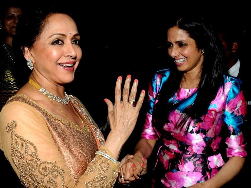 Hema Malini greets Sridevi on her 50th birthday in Mumbai. (AFP Photo)