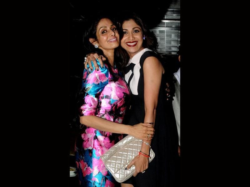 Sridevi's 50th birthday bash was a star-speckled evening. Interestingly, girl-bonding was captured by the shutterbugs as the divas posed. (Image: Shilpa Shetty with Sridevi; AFP Photo)