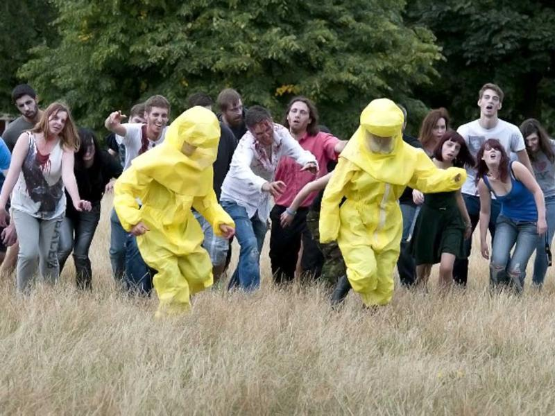 Participants practice running away from zombies during the 'Zombie training day' in Hyde Park, Central London. AFP photo