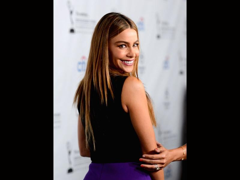Actress Sofía Vergara arrives at the Academy of Television Arts & Sciences' Performers Peer Group cocktail reception to celebrate the 65th Primetime Emmy Awards at Sheraton Universal in California. (AFP Photo)