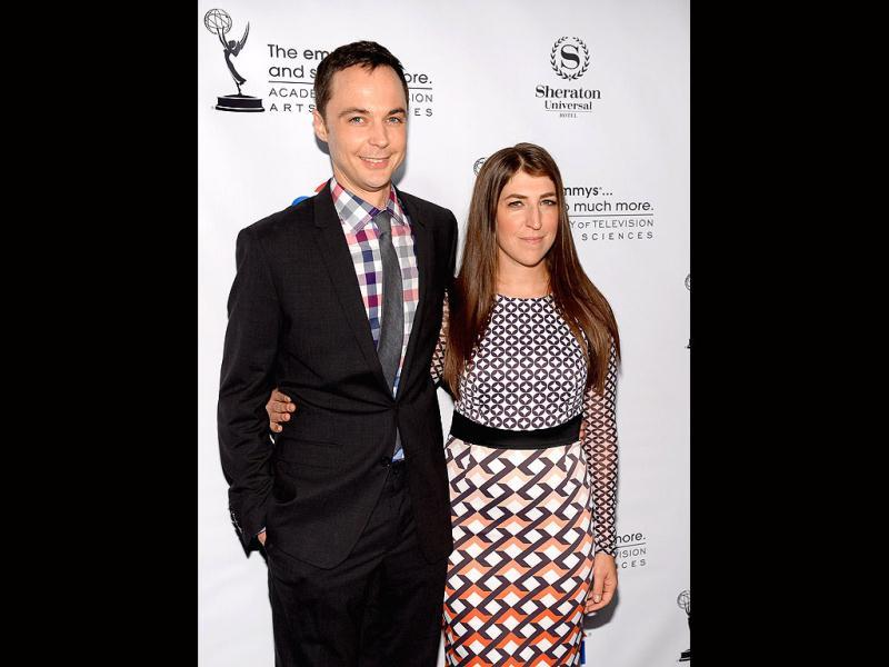 Actors Jim Parsons and Mayim Bialik arrive at the Academy of Television Arts & Sciences' Performers Peer Group cocktail reception to celebrate the 65th Primetime Emmy Awards at Sheraton Universal in California. (AFP Photo)