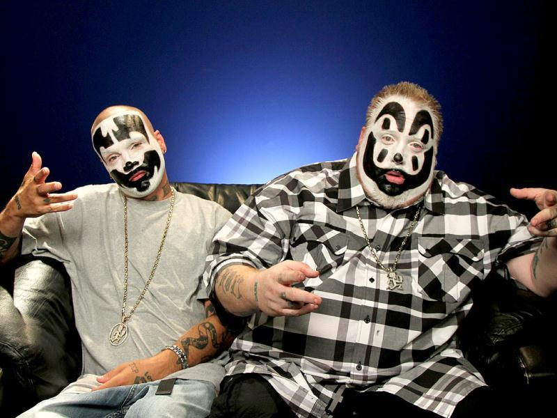 Joseph Utsler, also known as Shaggy 2 Dope, left, and Joseph Bruce, also known as Violent J, from Insane Clown Posse, in New York. (AP Photo)