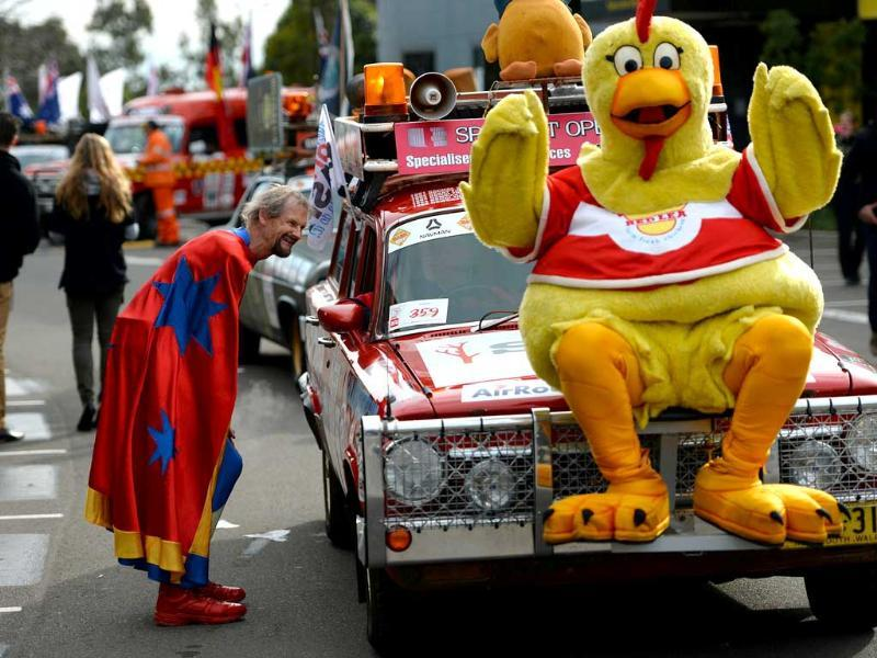 At the 29th Annual Variety Bash in Sydney, classic vintage cars leave for a 4,425-kilometer journey to raise funds to support children in need. (AFP Photo)