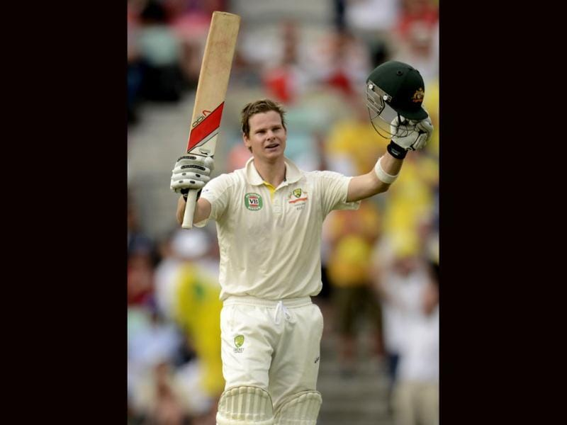 Australia's Steven Smith celebrates reaching his century during the fifth Ashes Test match against England at the Oval cricket ground in London. (Reuters Photo)