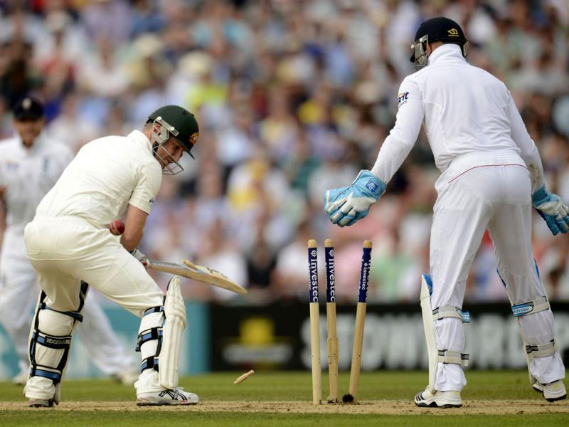 Australia's Brad Haddin is bowled out during the fifth Ashes Test against England at The Oval cricket ground in London. (Reuters Photo)