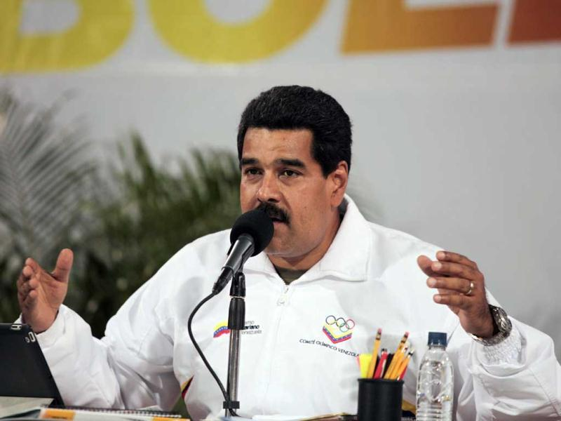 Venezuela's President Nicolas Maduro speaks during a meeting with members of the community at the 23 de Enero neighbourhood in caracas in this handout photo provided by Miraflores Palace. (Reuters)