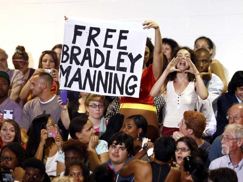 A protester shouts for the release of Bradley Manning, the US soldier convicted of the biggest breach of classified data in the nation's history, interrupting a speech by US President Barack Obama on affordable education at Henninger High School in New York. (Reuters)