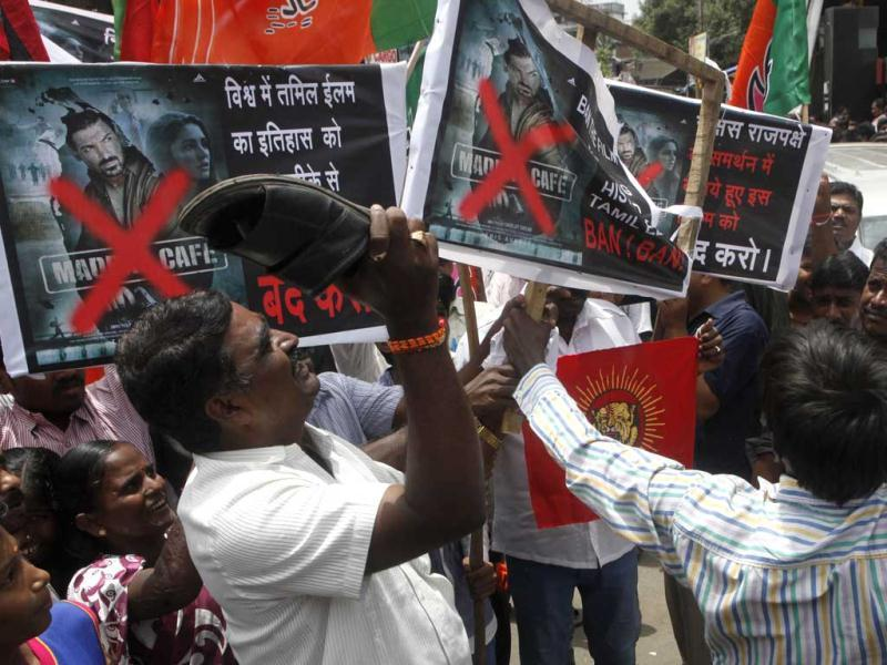 Tamil protesters at Cinemax Sion against Hindi Movie Madras Cafe in Mumbai on Aug. 22, 2013. (Photo: Anshuman Poyrekar/HT)