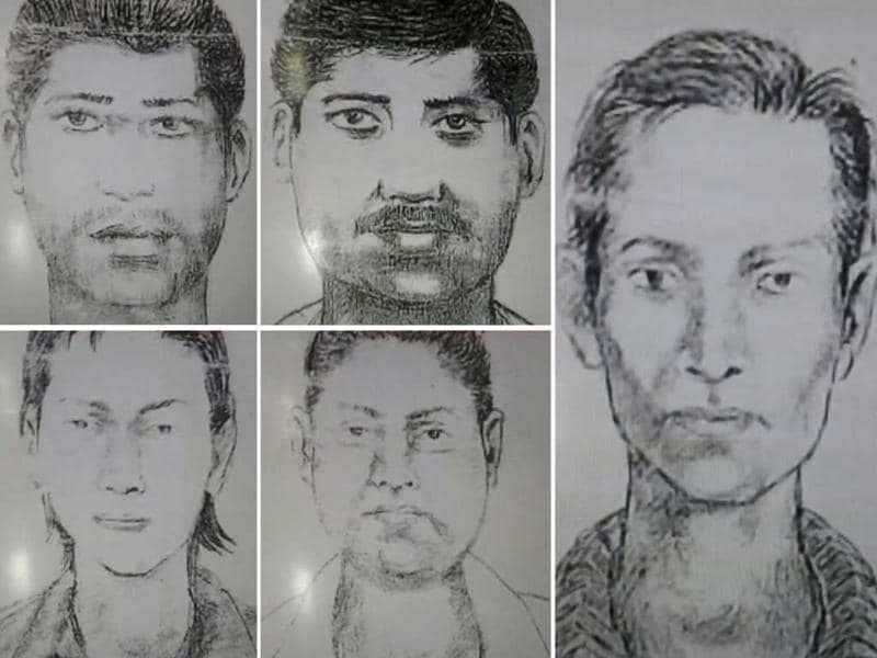 A combination image shows sketches of five suspects, released by the Mumbai Police, allegedly involved in the gang-rape of a photojournalist in Mumbai. AFP