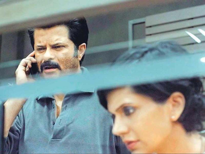 Anil Kapoor with Mandira Bedi on the sets of TV series 24.
