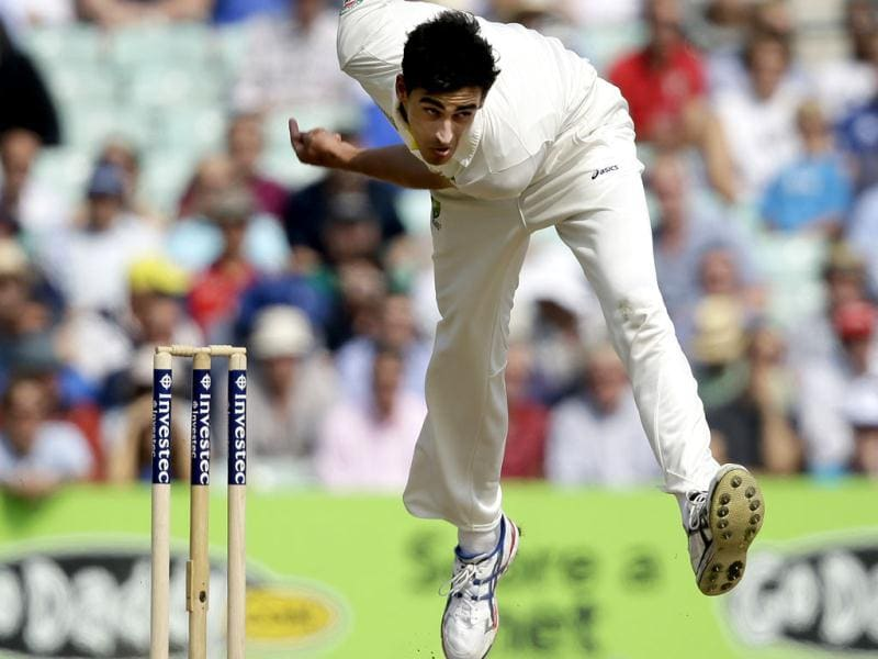 Australia's Mitchell Starc bowls to England's Alastair Cook during play on the third day of the fifth Ashes Test at The Oval in London. (AP Photo)