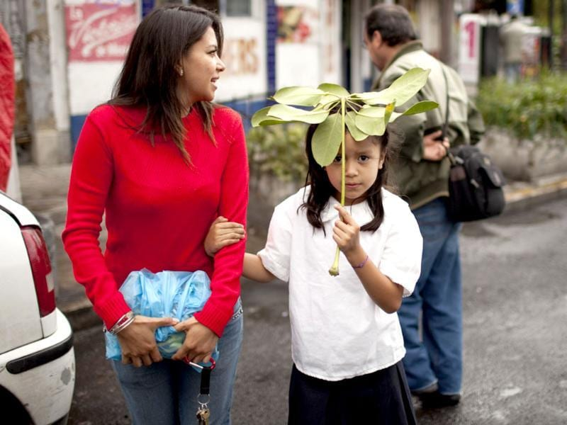 Juileta Sánchez using part of a plant as a makeshift umbrella, holds onto to her mother Soledad Sanchez as they cross the street in Mexico City. AP Photo