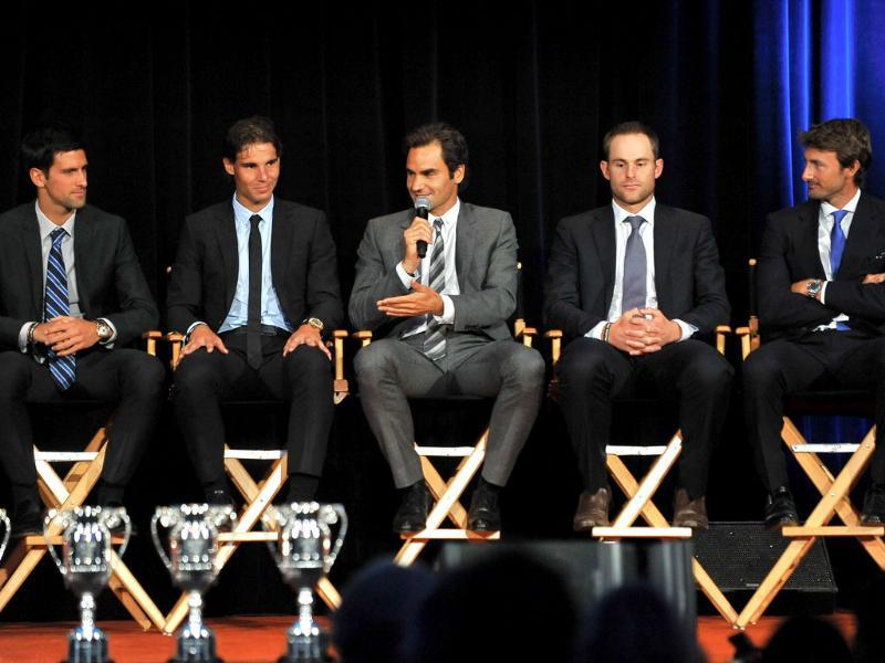 Novak Djokovic, Rafael Nadal, Roger Federer, Andy Roddick, and Juan Carlos Ferrero attend the ATP Heritage Celebration at The Waldorf Astoria in New York City. AFP