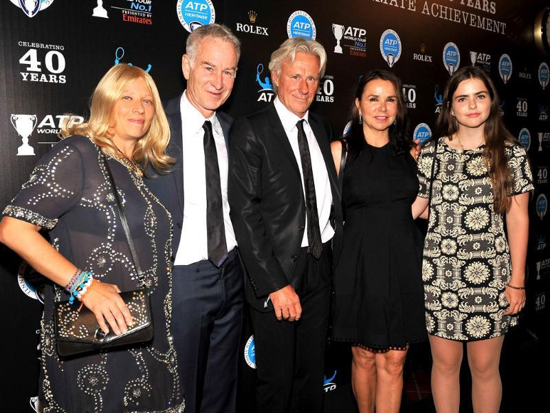 (L-R) Patricia Ostfeldt, John McEnroe, Bjorn Borg, and Patty Smyth attend the ATP Heritage Celebration at The Waldorf Astoria in New York City. AFP