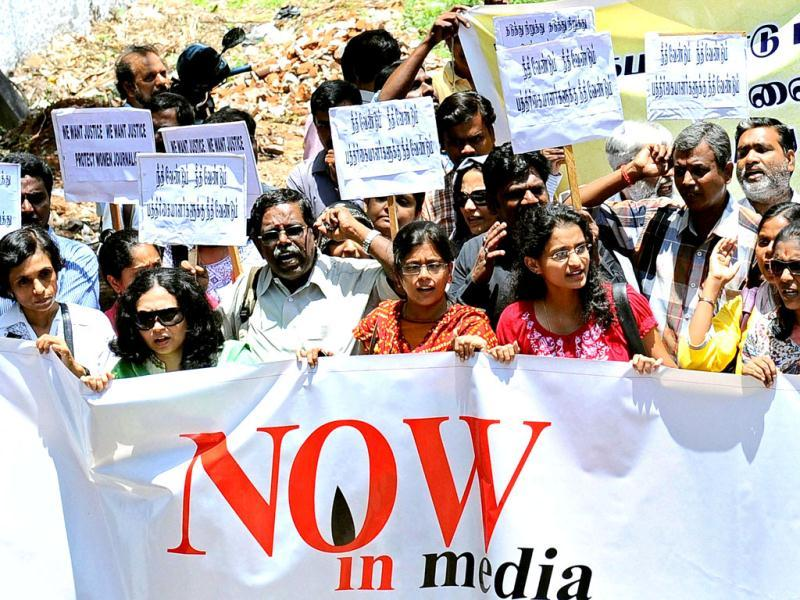 Journalists from Tamil Nadu Press Photographers' Association and other journalist associations stage a protest in Chennai against the gang-rape of a photojournalist in Mumbai. (PTI Photo)