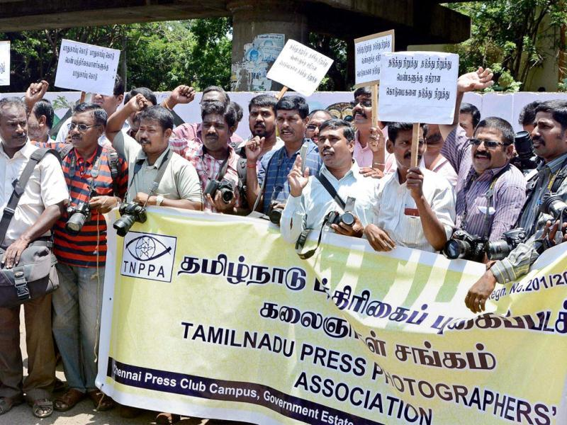 Journalists from Tamil Nadu Press Photographers' Association and other journalist associations march in protest against the gangrape of a photojournalist in Mumbai. (PTI Photo)