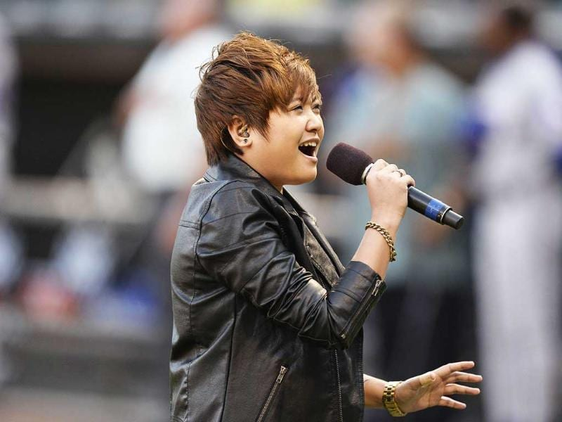 International recording sensation Charice sings The Star Spangled Banner before the 2013 Civil Rights Game between the Chicago White Sox and the Texas Rangers in Chicago, Illinois. AFP photo