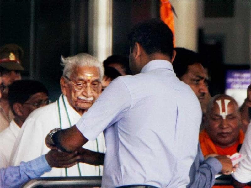 VHP chief Ashok Singhal was taken into custody at Lucknow Airport as the Uttar Pradesh government launched a massive crackdown against those planning to join the 'Chaurasi Kosi Parikrama' in Ayodhya. PTI Photo