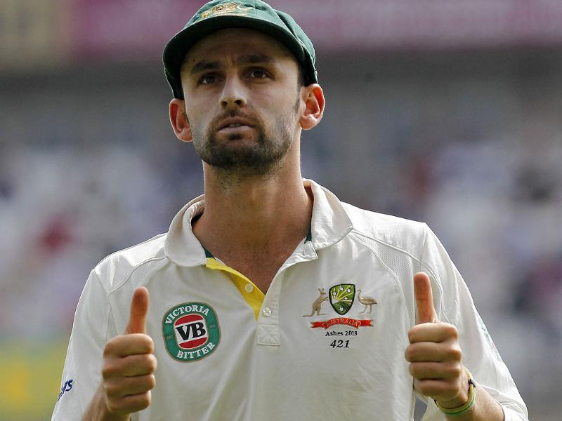 Australia's Nathan Lyon gestures during play on the fifth day of the fifth Ashes cricket test match between England and Australia at the Oval in London. (AFP Photo)