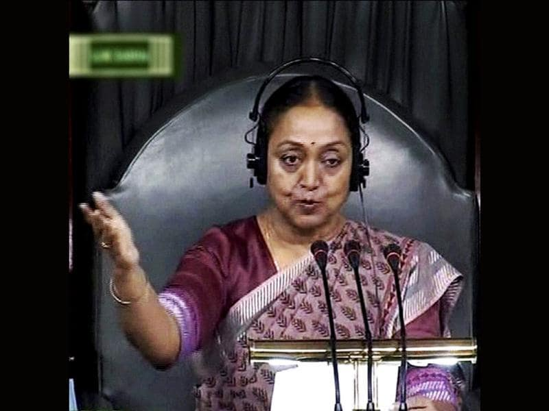 Speaker Meira Kumar in Lok Sabha during the ongoing monsoon session. (PTI Photo)