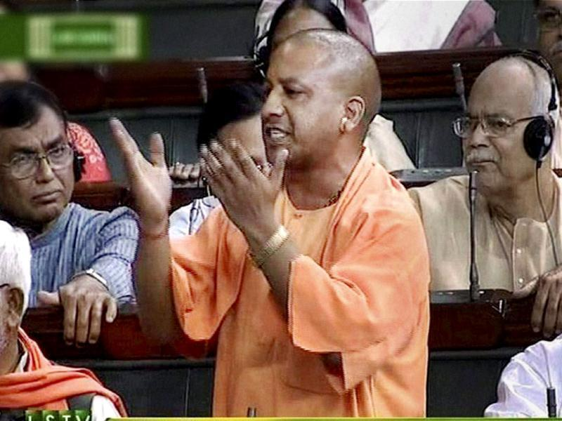 BJP member Yogi Aditya Nath speaks in the Lok Sabha during the ongoing monsoon session. (PTI Photo)