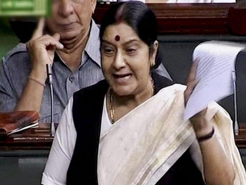 Opposition leader Sushma Swaraj speaks in Lok Sabha during the ongoing monsoon session. (PTI Photo)