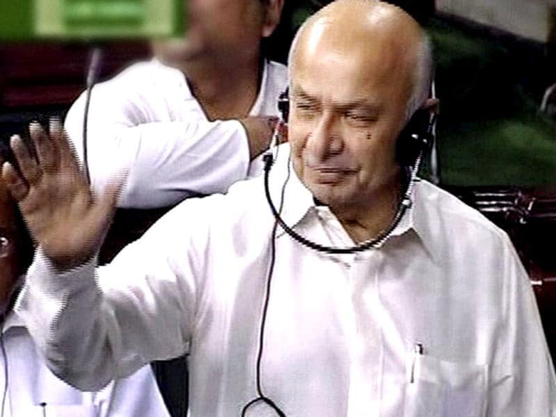 Union home minister Sushilkumar Shinde speaks in Lok Sabha during ongoing monsoon session. (PTI Photo)