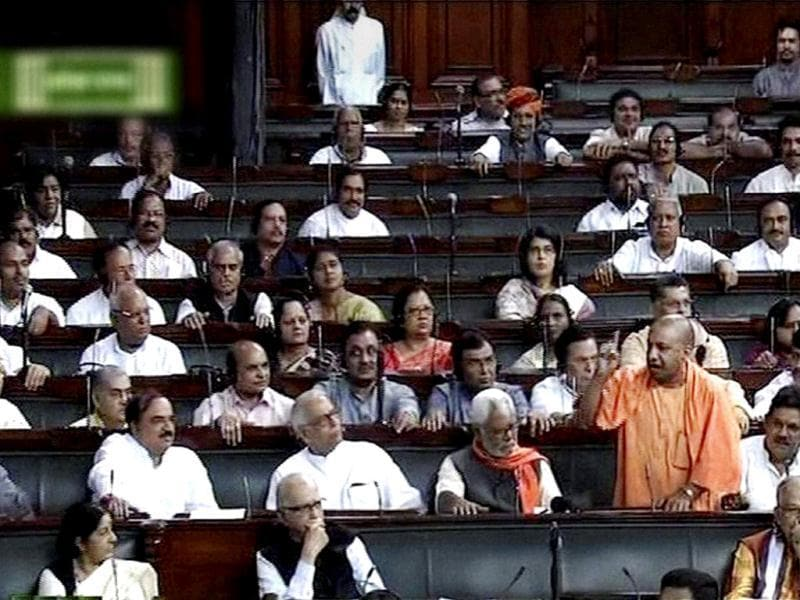 BJP member Yogi Aditya Nath speaks in Lok Sabha during the ongoing monsoon session. (PTI Photo)