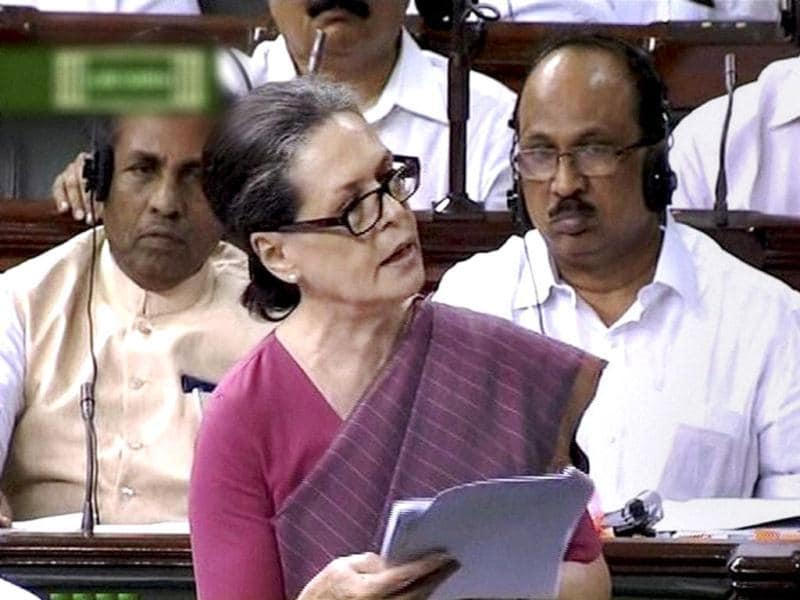 UPA chairperson Sonia Gandhi speaks in Lok Sabha during the ongoing monsoon session. (PTI Photo)