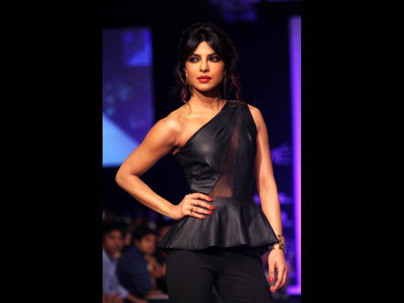 Though Priyanka Chopra said that she was scared of walking the ramp, she did not let it show (AFP)